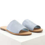 Blue Faux Suede Slides