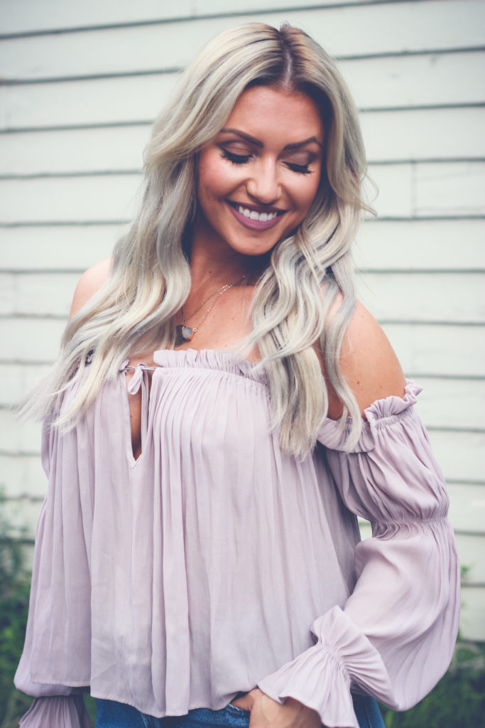 Lavender off the shoulder peasant top.