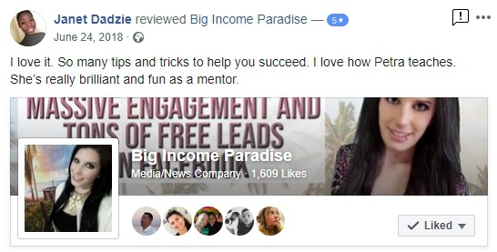 Testimonial for Big Income Paradise