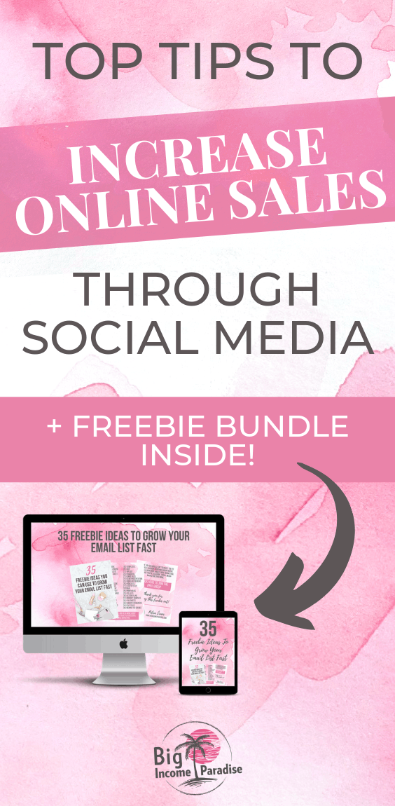 If you want to be a successful entrepreneurs or blogger, you have to learn how to increase online sales through social media. It's actually not that hard. We put together all the top tips on how to increase online sales that will help you succeed in your business. Check out our blog post and repin this for later. #BigIncomeParadise #IncreaseOnlineSales #makemoneywithsocialmedia #boostyoursales #makemoneyonline