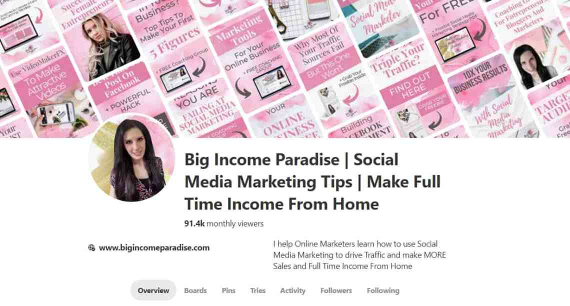 Big Income Paradise Pinterest Business Account