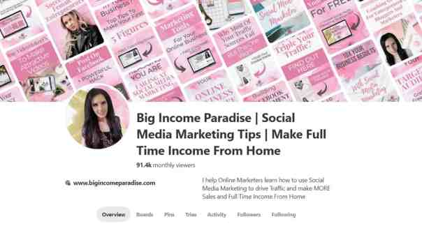 Big Income Paradise Pinterest Business Account