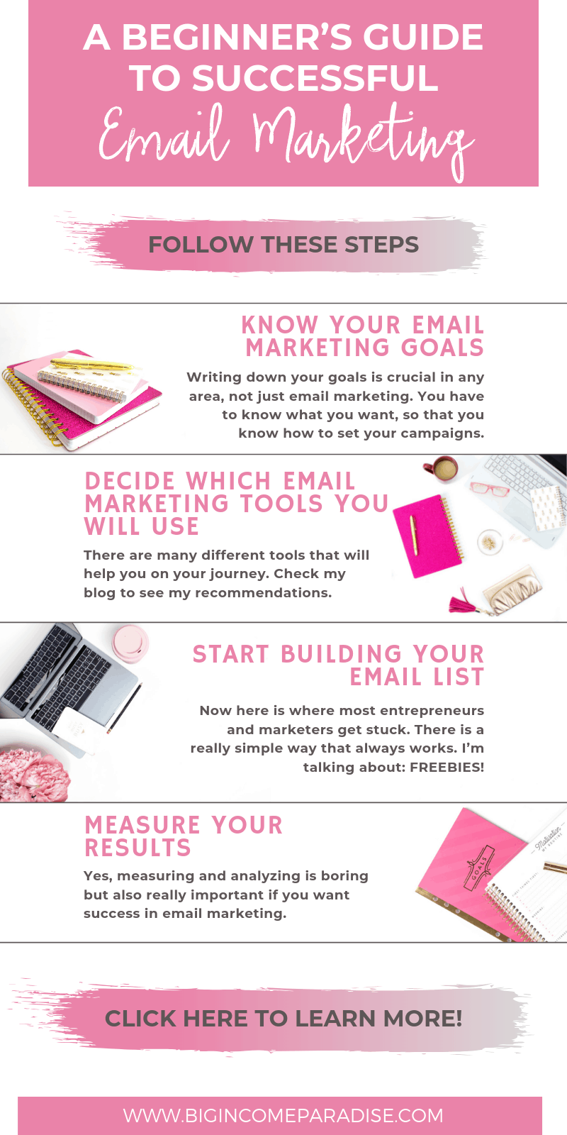 Here is a beginner's guide to successful email marketing. If you are doing business online, then it's smart to include an email marketing strategy. In this guide, you will learn everything you need to know about successful email marketing. #bigincomeparadise #emailmarketing #emailmarketing101 #emailmarketingstrategy #emaillist #growingyouremaillist #buildingyouremaillist