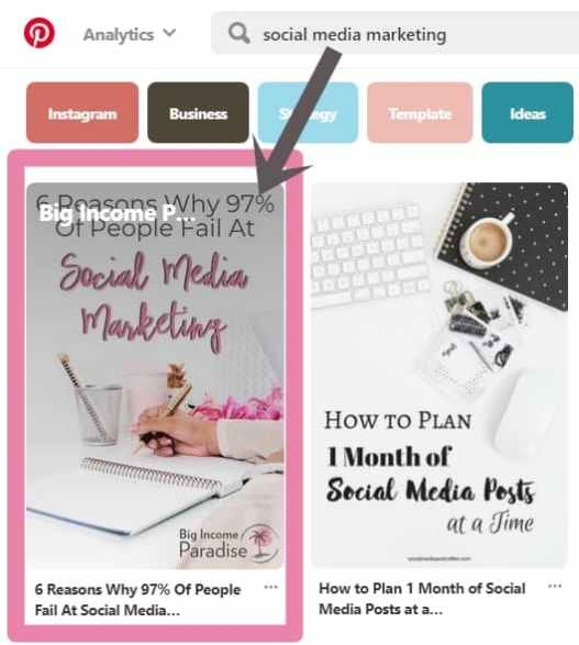 Pinterest marketing - ranking my pin on first place