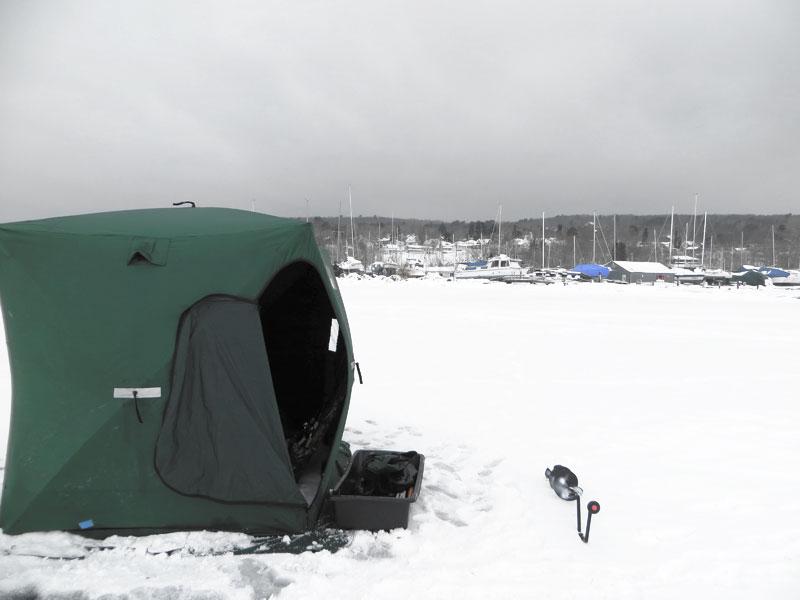 ice fishing lake superior ice house