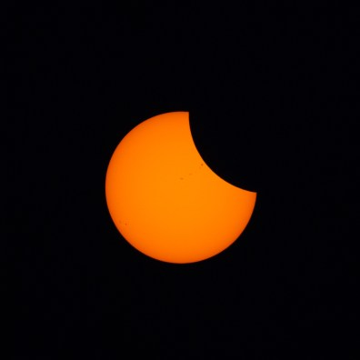 Eclipse underway. Note the sunspots!