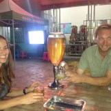 Enjoying a cold beer with Kimberly (Dunhuang, China)