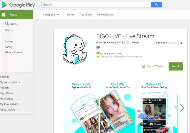 BIGO LIVE on Android Using Google Play Store