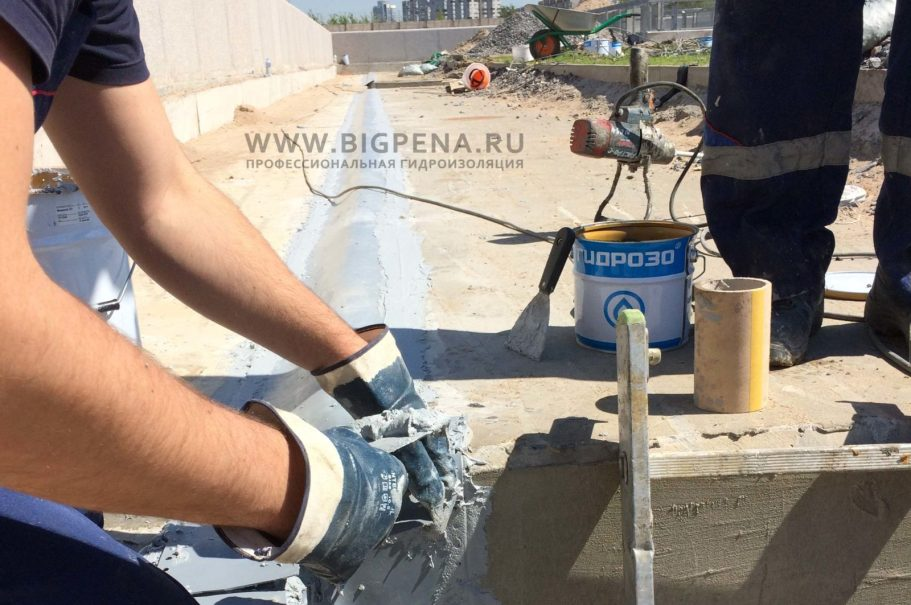 Монтаж гидроизоляционной ленты Манодил 1