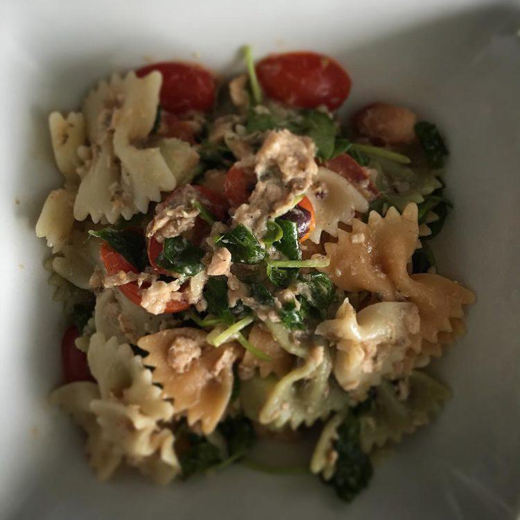 Salmon pasta salad a la Greek.