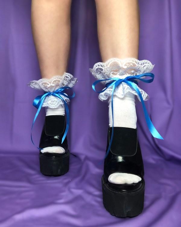 white-lace-frilly-socks-blue-satin-ribbon-bow