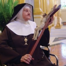 Mother Angelica with a Crucifex Jesus Cross Beauty Beautiful Love Sacrifice