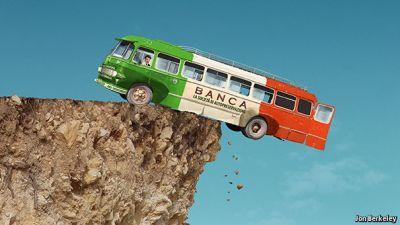 Imminent Italian Bank Collapse Cartoonish Bus painted in Italian flag teetering on cliff