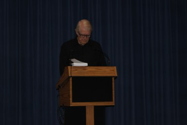 """Dearborn Library Foundation President Steven R. Roberts reading """"Captain Dewey and the Third Boat"""""""
