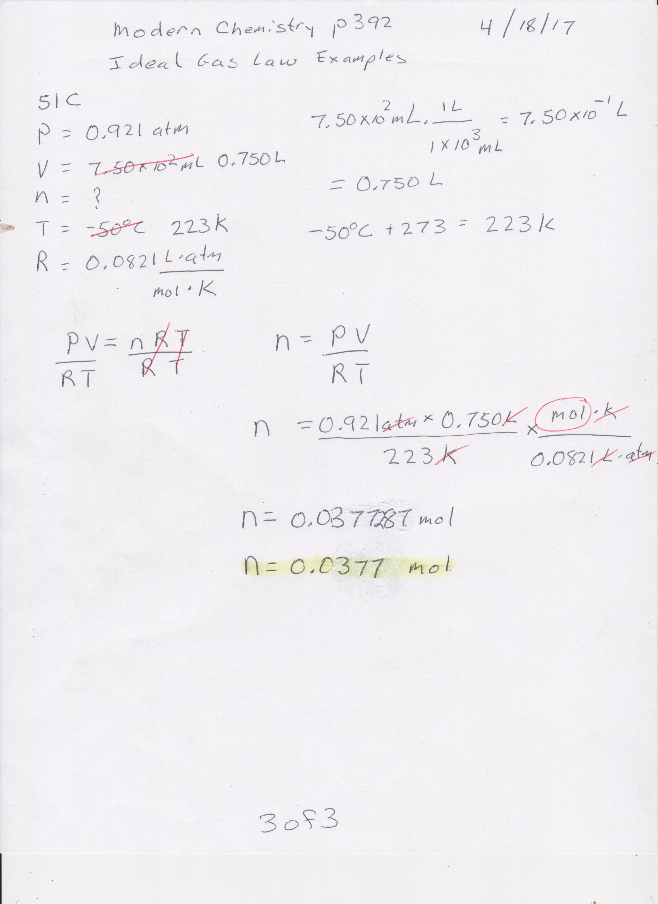 Ideal Gas Law Worksheet 14 4 Answer Key – Page 2