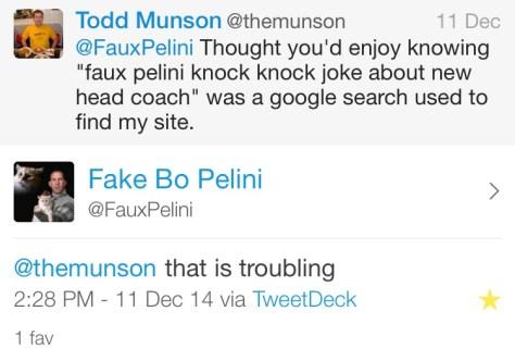 Faux Pelini Knock Knock Joke Twitter