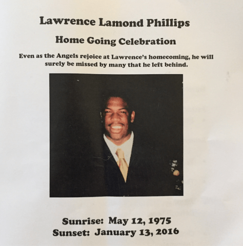 Lawrence Phillips Funeral Program