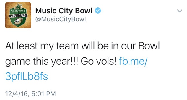 One Thing Nobody Has Mentioned About That Music City Bowl Tweet