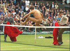 How sensible Englishmen enjoy tennis on the lawn.