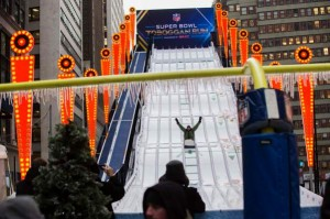 A Super Bowl toboggan in Midtown?  Sign us up!