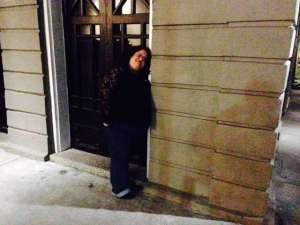 The author at the entrance to the Lalaurie Mansion.