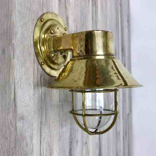 Vintage Brass Wall Sconce With Brass Rain Cap
