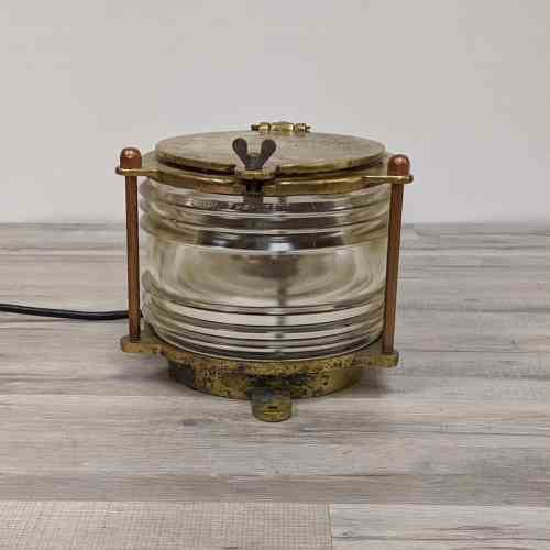 Large Brass Post Mounted Light - Wired with Wall Outlet