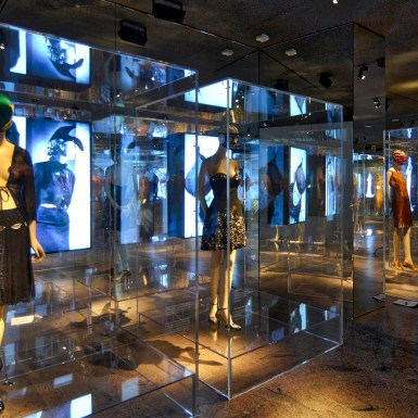 Prada-Schiaparelli Met Museum video and plexi vitrines