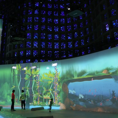 NY_Hall_of_Science_Interactive_Projection_of the virtual waterfall