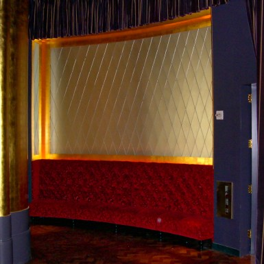 "Jean Georges ""V"" backlit hallway partition with etched glass"
