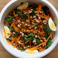 Wilted Collard Green Salad with Peanuts and Black Eyed Peas