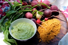 Radish Snack with Avocado Crema and Spicy Pepita Powder https://bigsislittledish.wordpress.com/2014/06/03/radish-snack-with-avocado-crema-and-spicy-pepita-powder/
