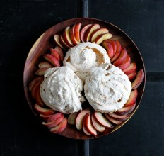 Fresh Peaches with Meringues https://bigsislittledish.wordpress.com/2014/08/03/fresh-peaches-with-meringues-farmshare-cooking/