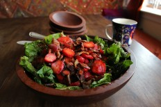 Spinach Salad with Strawberries, Bacon and Spring Onions
