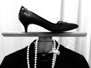 Getting ready for an interview: black suit, pearls, and black heels.Classic and pretty. (Photo by Ashley Jones, 2015.)