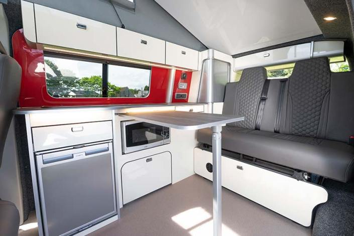 Campervan hire Edinburgh kitchen area