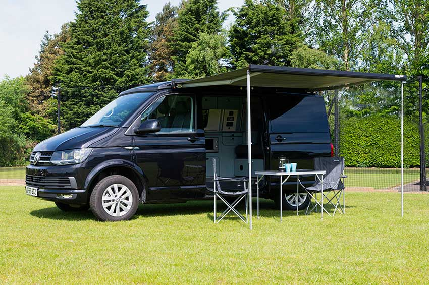 Campervan rental Scotland black VW Transporter Camper