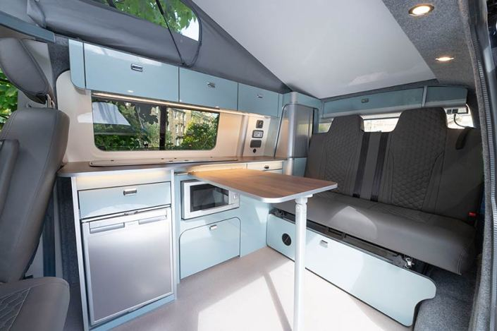 VW Campervan hire Scotland interior living space