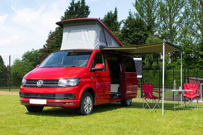 VW Transporter campervan rental Edinburgh pop up roof