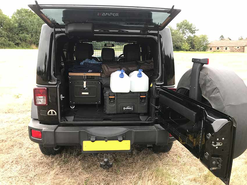 Jeep Wrangler campervan for hire storage space