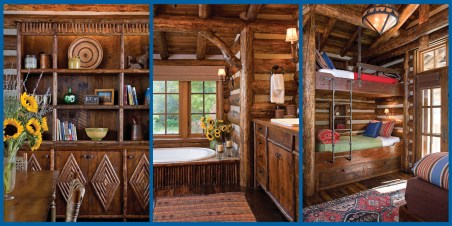 Left: Builder Yellowstone Traditions handcrafted and installed built-in shelves and storage with custom detailing, such as diamond pattern twigwork. • Center: Yellowstone Traditions finished the master bath with rustic branch detailing on the vanity and bathtub surround. • Right: Compact bunks maximize space while adding a playful aspect to the interior design.