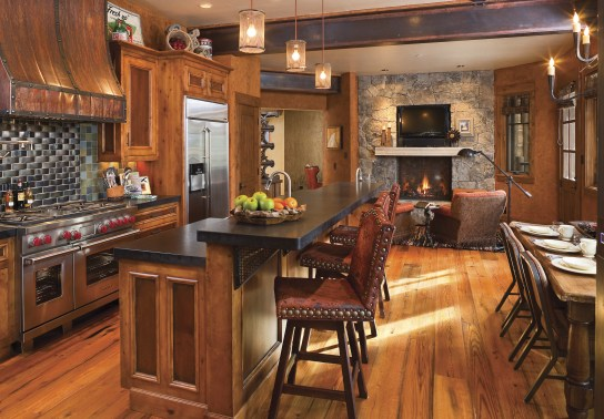 Family-friendly, the eat-in kitchen is an eclectic combination of state-of-the-art appliances and casual dining.