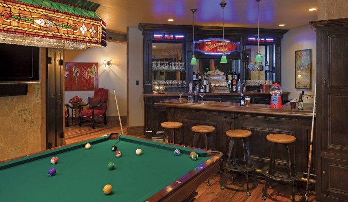 The game room, on the lower level, allows family members a place to play.