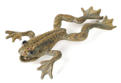 """Leaping Frog"" is carved out of a single piece of lignum vitae from Central America."