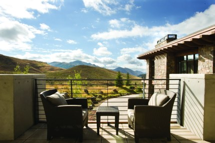 Private outdoor spaces with seeping views belie the residence's close proximity to downtown Ketchum.