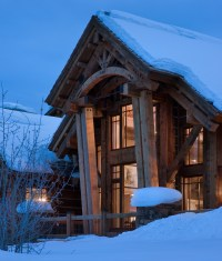 Teton Heritage Builders incorporate timber from Alaska to embolden the new rustic style of this mountain lodge.