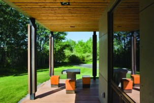 Outdoor furniture was designed by Mitch Blake and fabricated by a local metalsmith.