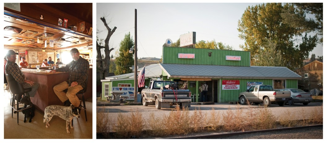 """Left: Locals know the """"No dogs allowed"""" rule at Joe's bar, but the message is lost to the community's canines. • Right: """"Welcome Fishermen"""" means more than just a gathering place for tall tales and cold beer. Joe's Bar is the local's hangout."""