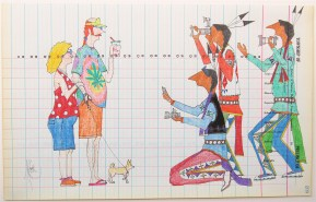 """""""WOW! Full Blooded White People""""   Color Pencil and Ink on Ledger Paper Dated 1936   Dwayne Wilcox   11"""" x 17"""" • Dwayne Wilcox started drawing role reversal images about 10 years ago. The inspiration for this piece came from 14 years of travel with a cultural exchange program that took adolescents from the reservation to the east coast for dance performances. He remembers when one kid waved and said """"Bye Indians!"""" """"I thought it was kind of strange to say good bye to someone and include their race. But they don't know any better,"""" Wilcox said. """"People come up and take pictures of you like you're some kind of circus trick. Until you're in that awkward position, you won't be able to know."""""""