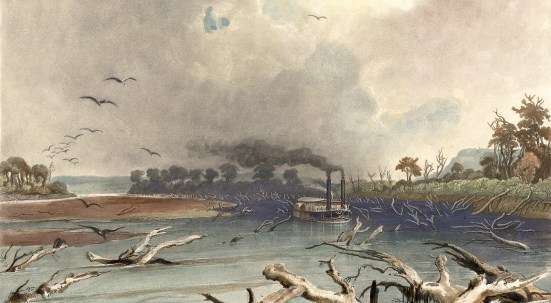 "Art by Karl Bodmer (1809-1893), entitled ""Snags (Sunken Trees) on the Missouri."" A steamboat works its way through sunken trees on the river. Karl Bodmer's illustrations to Prince Maximillian of Wied-Neuwied's ""Travels in the Interior of North America,"" 1832-34. Maximilian commissioned Bodmer to create illustrations to accompany the text of his atlas documenting their travels. These illustrations include 81 plates of hand-colored aquatints."